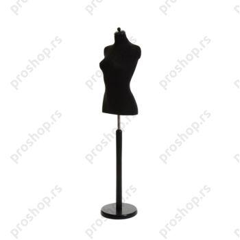 Krojačka lutka 1/2 tela, ženska, crna, na crnoj drvenoj okrugloj stopi