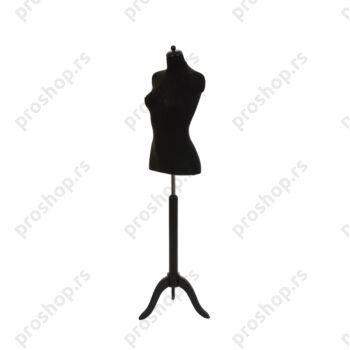 Krojačka lutka 1/2 tela, ženska, crna, na crnom drvenom tronošcu