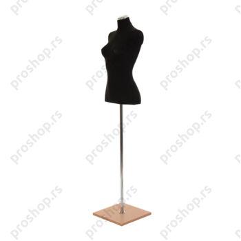Krojačka lutka 1/2 tela, ženska, crna, na hromiranoj cevi sa bukva drvenom stopom