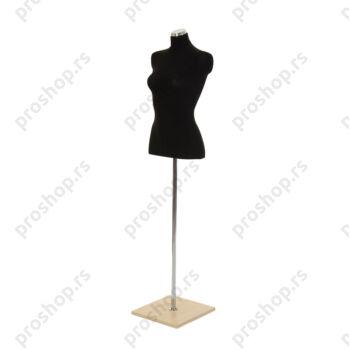 Krojačka lutka 1/2 tela, ženska, crna, na hromiranoj cevi sa javor drvenom stopom