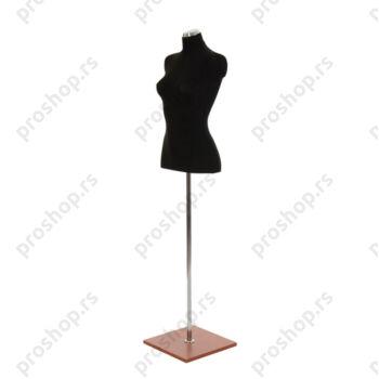 Krojačka lutka 1/2 tela, ženska, crna, na hromiranoj cevi sa trešnja drvenom stopom