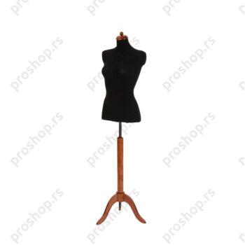 Krojačka lutka 1/2 tela, ženska, crna, na mahagoni drvenom tronošcu