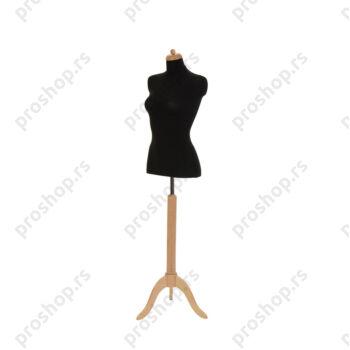 Krojačka lutka 1/2 tela, ženska, crna, na natur drvenom tronošcu
