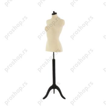 Krojačka lutka 1/2 tela, ženska, svetlo smeđa, na crnom drvenom tronošcu