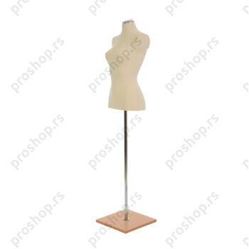Krojačka lutka 1/2 tela, ženska, svetlo smeđa, na hromiranoj cevi sa bukva drvenom stopom