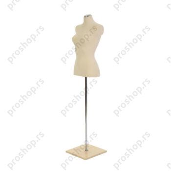 Krojačka lutka 1/2 tela, ženska, na hromiranoj cevi sa drvenom stopom, VIŠE BOJA