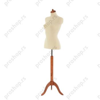 Krojačka lutka 1/2 tela, ženska, svetlo smeđa, na mahagoni drvenom tronošcu