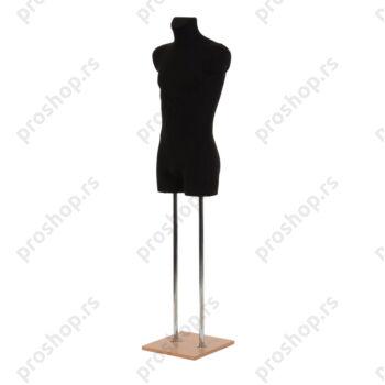Krojačka lutka 3/4 tela, muška, crna, na dve hromirane cevi i sa bukva drvenom stopom