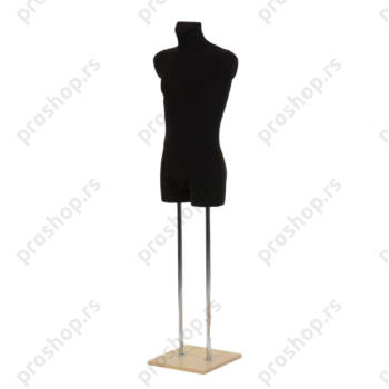 Krojačka lutka 3/4 tela, muška, crna, na dve hromirane cevi i sa javorovom drvenom stopom
