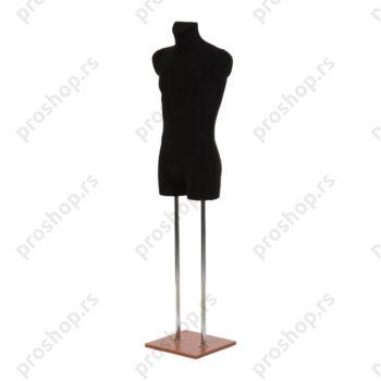 Krojačka lutka 3/4 tela, muška, crna, na dve hromirane cevi i sa trešnja drvenom stopom