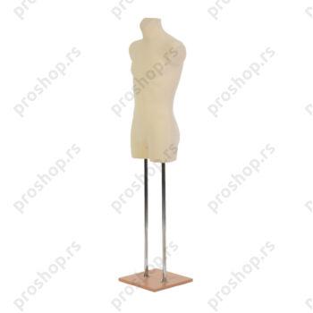 Krojačka lutka 3/4 tela, muška, svetlo smeđa, na dve hromirane cevi i sa bukva drvenom stopom