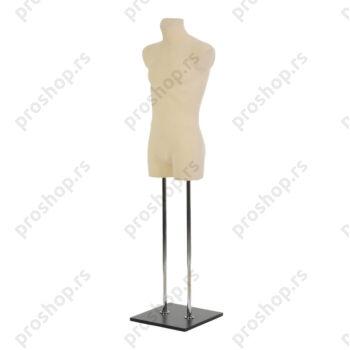Krojačka lutka 3/4 tela, muška, svetlo smeđa, na dve hromirane cevi i sa crnom drvenom stopom