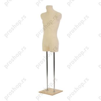 Krojačka lutka 3/4 tela, muška, na dve hromirane cevi i sa drvenom stopom, VIŠE BOJA