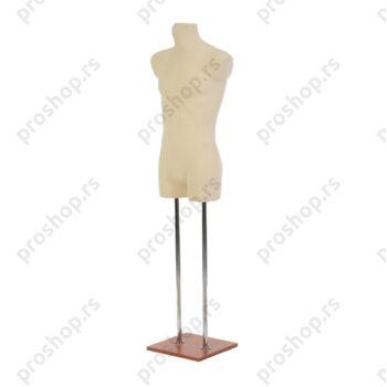 Krojačka lutka 3/4 tela, muška, svetlo smeđa, na dve hromirane cevi i sa trešnja drvenom stopom