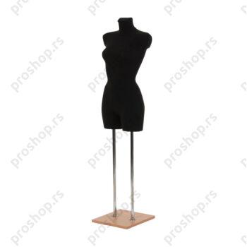 Krojačka lutka 3/4 tela, ženska, crna, na dvostrukoj hromiranoj nozi i sa drvenom bukva stopom