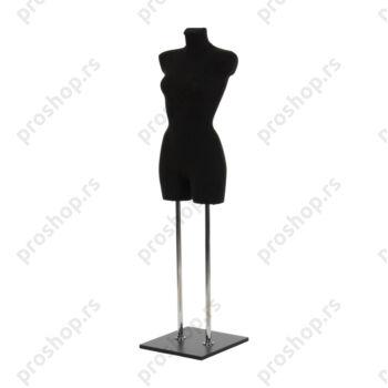 Krojačka lutka 3/4 tela, ženska, crna, na dvostrukoj hromiranoj nozi i sa drvenom crnom stopom