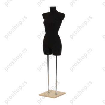 Krojačka lutka 3/4 tela, ženska, crna, na dvostrukoj hromiranoj nozi i sa drvenom javorovom stopom