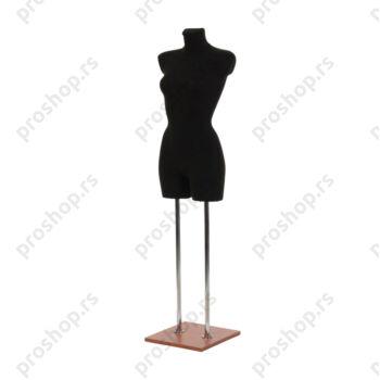 Krojačka lutka 3/4 tela, ženska, crna, na dvostrukoj hromiranoj nozi i sa drvenom trešnja stopom