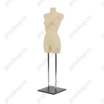 Krojačka lutka 3/4 tela, ženska, svetlo smeđa, na dvostrukoj hromiranoj nozi i sa drvenom crnom stopom