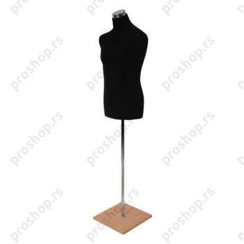 Krojačka lutka, MUŠKA, 50, crna, na hromiranoj cevi, sa bukva drvenom stopom