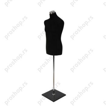 Krojačka lutka, MUŠKA, 50, crna, na hromiranoj cevi, sa crnom drvenom stopom
