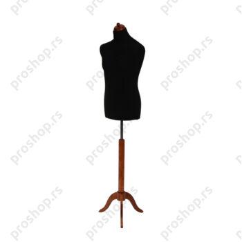 Krojačka lutka, MUŠKA, 50, crna, na mahagoni drvenom tronošcu