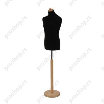 Krojačka lutka, MUŠKA, 50, crna, na natur drvenoj stopi