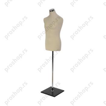 Krojačka lutka, MUŠKA, 50, svetlo smeđa, na hromiranoj cevi, sa crnom drvenom stopom