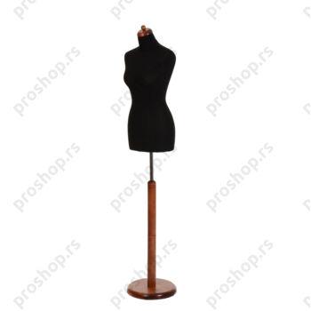 Krojačka lutka, ženska, 34, crna, na drvenoj okrugloj stopi, mahagoni boje