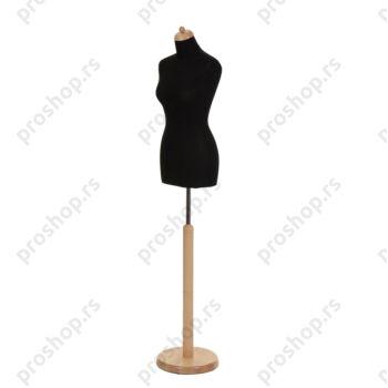 Krojačka lutka, ženska, 34, crna, na drvenoj okrugloj stopi, natur boje