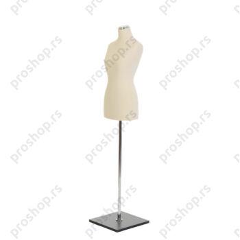 Krojačka lutka, ženska, 34, svetlo smeđa, na hromiranoj cevi i sa drvenom stopom crne boje