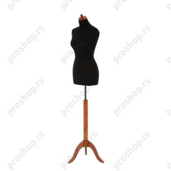 Krojačka lutka, ženska, 36-38, crna na mahagoni drvenom tronoscu