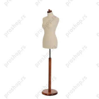 Krojačka lutka, ženska, 36-38, svetlo smeđa, na mahagoni okrugloj drvenoj stopi