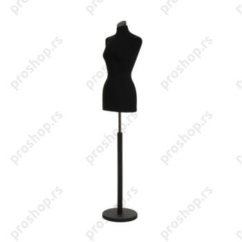 Krojačka lutka, ŽENSKA, 36, crna, na crnoj drvenoj stopi