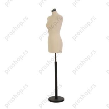 Krojačka lutka, ŽENSKA, 36, svetlo smeđa, na crnoj drvenoj stopi