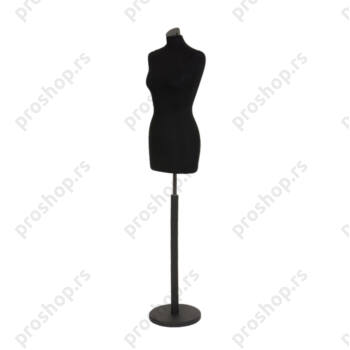 Krojačka lutka, ŽENSKA, 38, crna, na crnoj drvenoj stopi