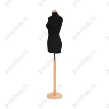 Krojačka lutka, ŽENSKA, 38, crna, na natur drvenoj stopi