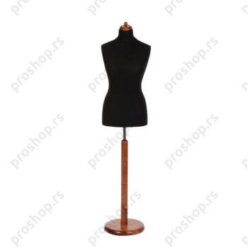 Krojačka lutka, ženska, 42, crna, na okrugloj drvenoj stopi boje mahagonija