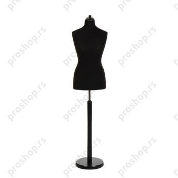 Krojačka lutka, ženska, 42, crna, na okrugloj drvenoj stopi crne boje