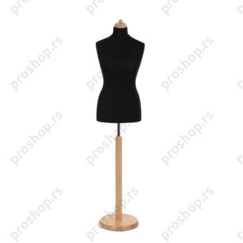 Krojačka lutka, ženska, 42, crna, na okrugloj drvenoj stopi natur boje