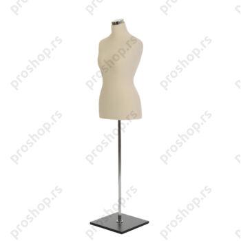 Krojačka lutka, ženska, 42, svetlo smeđa, na hromiranoj cevi i sa drvenom stopom crne boje