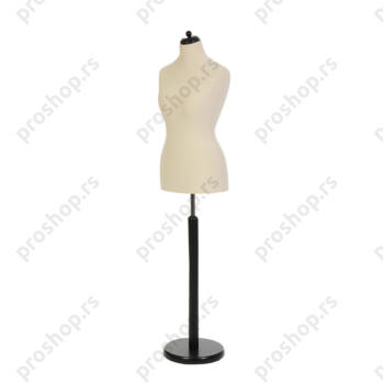 Krojačka lutka, ženska, 42, svetlo smeđa, na okrugloj drvenoj stopi crne boje