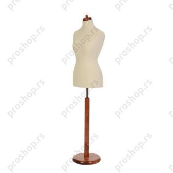 Krojačka lutka, ženska, 42, svetlo smeđa, na okrugloj drvenoj stopi mahagoni boje