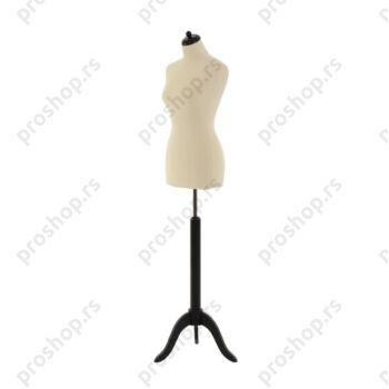 Krojačka lutka, ženska, 42, svetlo smeđa, na drvenom tronošcu crne boje