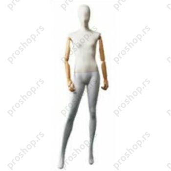 Kompletna ženska izložbena lutka sa apstraktnom glavom, sa DRVENIM rukama